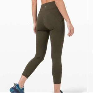 Lululemon invigorate high-rise tight in olive green
